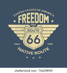 The Great American Road - Tee Design For Print. Vector illustration.