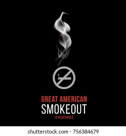 The Great American Smokeout day, vector illustration poster, quit smoking campaign, 18 november