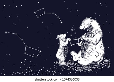 The Great Bear and the Little Bear. Constellations of the northern sky. Children's illustration on astrology.