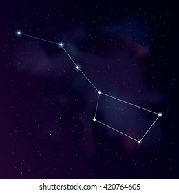 The Great Bear (with lines) constellation. Star background with Big Dipper constellation. Starry wallpaper. Illustration of Ursa Major constellation for your project. Stock vector.