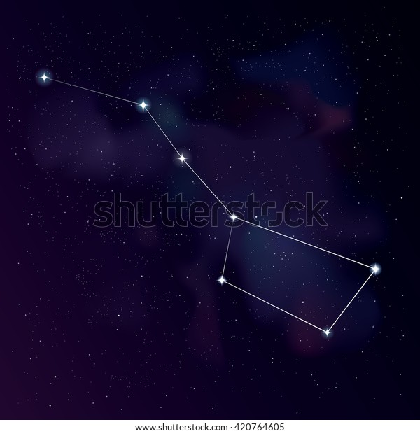 Great Bear Lines Constellation Star Background Stock Vector