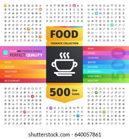 Great Big Thematic Bundle of 500 Food line icons suitable for web, infographics and apps. Isolated on white background. Clipping paths included.