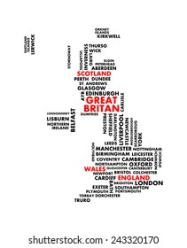 Great britain city map tag cloud concept print. National capital and major england cities name word collage text pattern, black and red vector art image illustration, isolated on white background