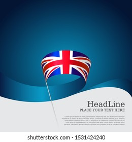 Great Britain flag background. Wavy ribbon color flag of great britain on a blue white background. National poster of the united kingdom. Vector design. United Kingdom patriotic banner, flyer, cover