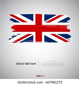 Great Britain flag with  brush stroke background vector