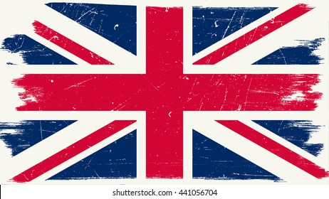 Great Britain flag with grunge texture. Vector British flag.