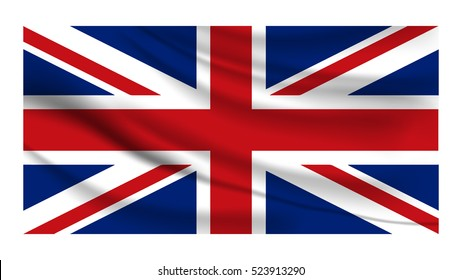 Great Britain flag with grunge texture.Vector British flag. Official vector flag of United Kingdom of Great Britain. United Kingdom Flag. UK national official colors. England.