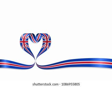 Great Britain flag heart-shaped wavy ribbon. Vector illustration.