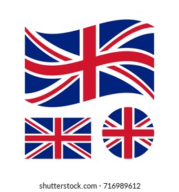 Great britain flag set. Rectangular, waving and circle Union Jack flag. UK, british national symbol. Vector icons isolated on white background