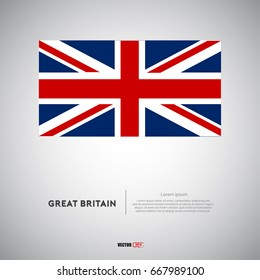 Great Britain flag vector with gray background
