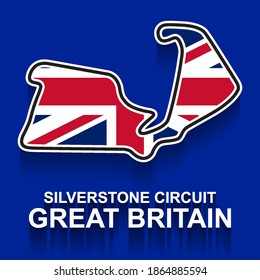 Great Britain grand prix race track for Formula 1 or F1 with flag. Detailed racetrack or national circuit for motorsport and formula1 qualification. Vector illustration.