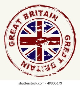 Great Britain grunge ink rubber stamp with union flag