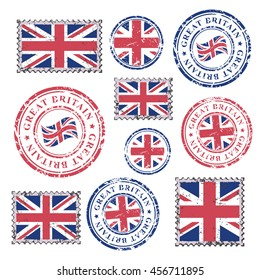 Great Britain grunge postal stamps and postmarks with British flag, set isolated on white background, vector illustration.