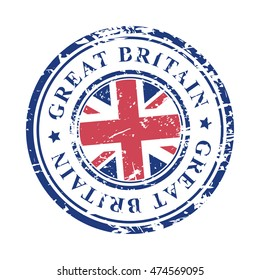 Great Britain grunge rubber stamp with British flag, isolated on white background, vector illustration.