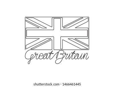 GREAT BRITAIN handwritten inscription and flag. Continuous one line drawing.