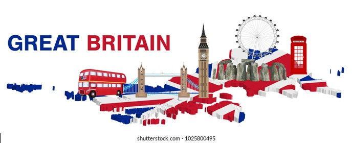 great britain with landmarks and icons of england