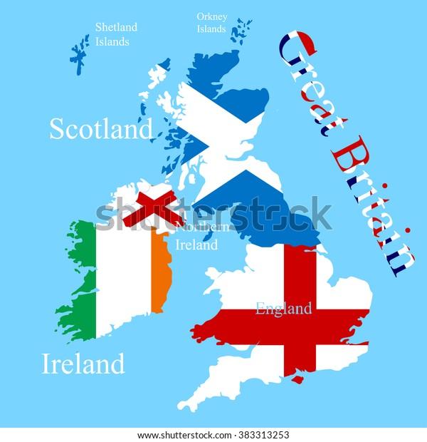 Great Britain Map Each Country Flag Stock-Vrgrafik (Lizenzfrei ... on