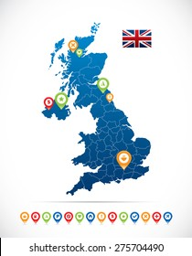 Great Britain Map with Flag and Navigation Icons