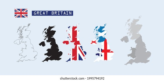 Great Britain map, flag with separated Ireland, England Wales and Scotland