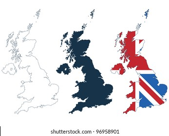 great britain map in line, silhouette and flag format isolated on white