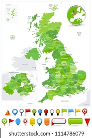 Great Britain Map Spot Green Colors and glossy icons. Detailed vector illustration of map.