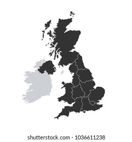 great britain map vector flat illustration on white background