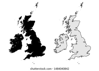 Great Britain Maps Vector - United Kingdom Flat Vector Set - Black Solid Color and Outline Isolated on White Background