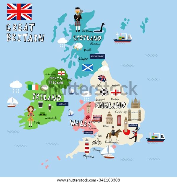 Iso Britannia Kuva Kartta Vektori Kuva Eps10 Arkistovektori