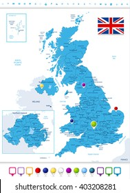 Great Britain Political Map with Map Pointers. All elements are separated in editable layers clearly labeled.