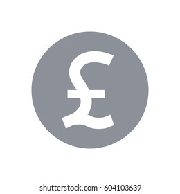 Great Britain pound symbol. Pound sterling round coin icon. GBP