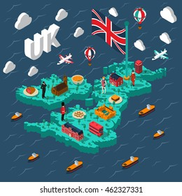 Great britain touristic isometric map with various british cultural elements on background with sea vector illustration