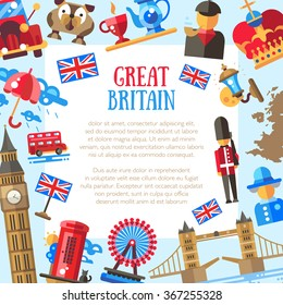 Great Britain vector flat design postcard template with British travel, tourism icons and infographics elements