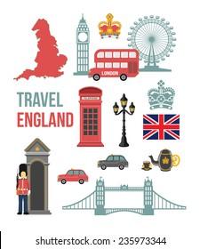 Great Britain vector flat icon set