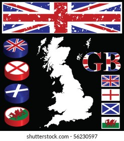 Great Briton collection of buttons flags map