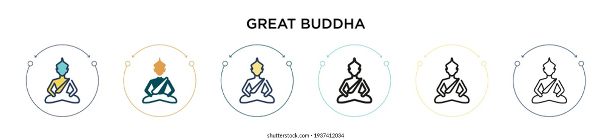 Great buddha icon in filled, thin line, outline and stroke style. Vector illustration of two colored and black great buddha vector icons designs can be used for mobile, ui, web
