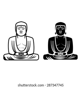 The Great Buddha statue in Kamakura, Japan. In silhouette icon style
