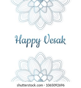 The great Buddhist holiday of Vesak. The image of the lotus in the form of a mandala. Vector illustration. Symbols and signs. Can be used to design a greeting card, a banner, a poster. Place for text.