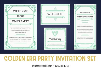 Great Christmas Invitation in Art Deco or Nouveau Epoch 1920's Gangster Empire or Boardwalk Era Style Vector Set for Main Event of the Year