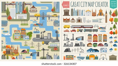 Great city map element creator. Seamless pattern map. Houses, infrastructure, industrial, transport, village and countryside isolated icon set. Make your perfect city. Vector illustration