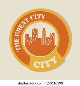 the great city over beige background vector illustration
