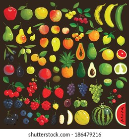 Great collection of the clip art fruits and berries