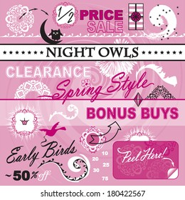 Great collection of vector art elements for your layout. Focusing on women�s department store catalog. Theme includes sale icons, percent off, 10, 20, 25, 30, 50, 75, early bird, night owl, clearance.