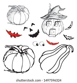 A great constructor for creating  pumpkins for Halloween.Gather your pumpkin yourself. Designer of the symbol of an orange pumpkin with various eyes, nose and smile.