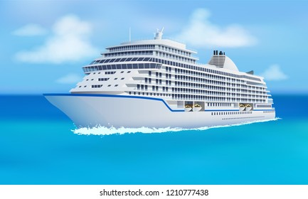 Great cruise liner, ocean, blue sky in flat style. Cruise, family vacation holiday summer luxury. Vector illustration.