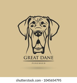 Great Dane dog - isolated outlined vector illustration
