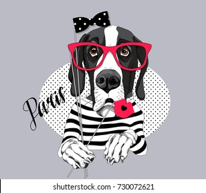 Great Dane Dog in a striped T-shirt and with a red glasses, bow, lips photo booth props. Vector illustration.