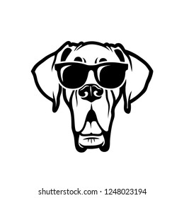 Great Dane dog wearing sunglasses - isolated outlined vector illustration