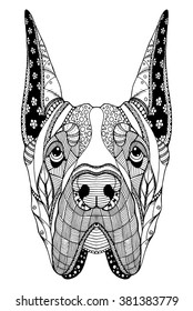 Great Dane dog zentangle stylized head, freehand pencil, hand drawn, pattern. Zen art. Ornate vector. Coloring.