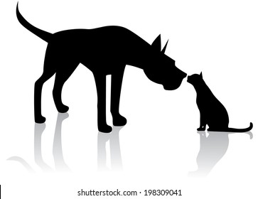 Great Dane meets cat. EPS 10 vector, grouped for easy editing. No open shapes or paths.