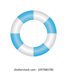 Great design concept of a blue-white life-saving wheel on a white backgroundblue